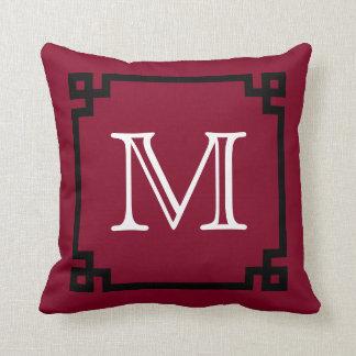 Burgundy White Monogram Greek Key Throw Pillow