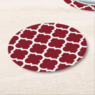 Burgundy White Moroccan Quatrefoil Pattern #5 Round Paper Coaster