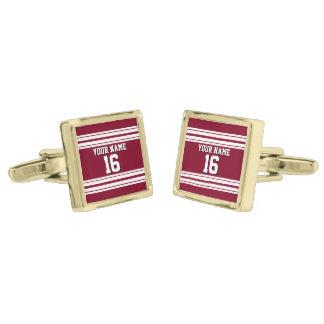 Burgundy White Team Jersey Custom Number Name Gold Finish Cufflinks