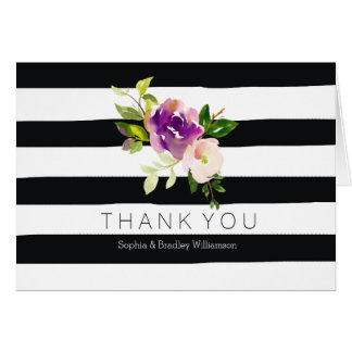 Burgundy Wine and Pink Watercolor Floral Stripes Card