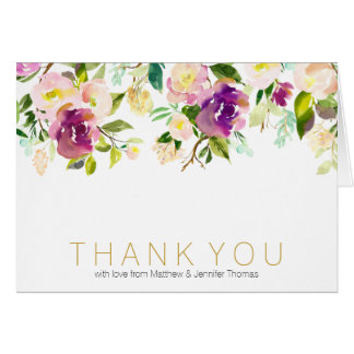 Burgundy Wine and Pink Watercolor Floral Thank you Card