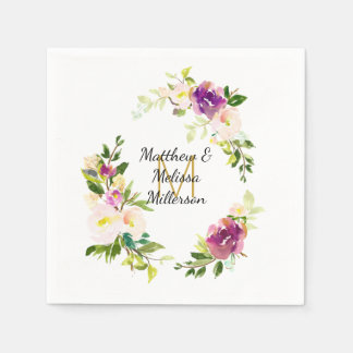 Burgundy Wine and Pink Watercolor Floral Wedding Paper Serviettes