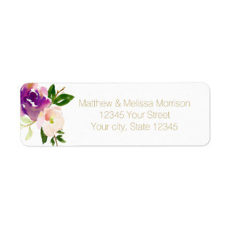 Burgundy Wine and Pink Watercolor Floral Wedding Return Address Label