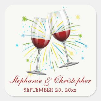 Burgundy Wine Champagne Glass Red Vineyard Wedding Square Sticker