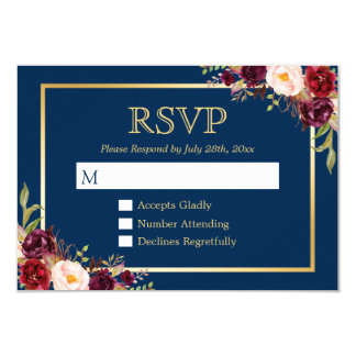 Burgundy Wine Color Floral Gold Navy Blue RSVP Card