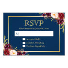 Burgundy Wine Colour Floral Gold Navy Blue RSVP Card
