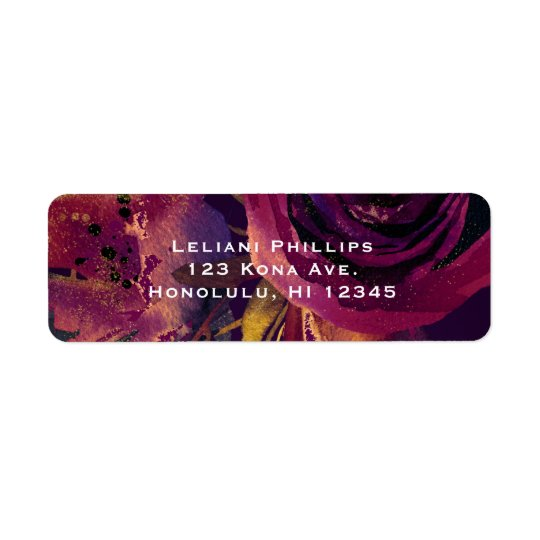 Burgundy Wine Floral Rose Purple Elegant Modern Return Address Label