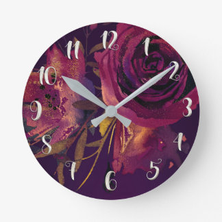 Burgundy Wine Floral Rose Purple Modern Glam Round Clock