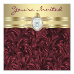 Burgundy Wine Gold Womans Birthday Party Custom Announcements