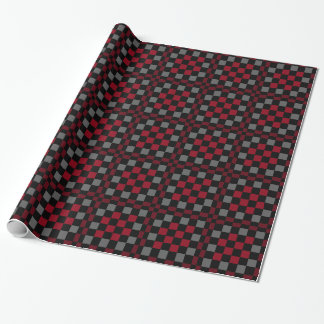 Burgundy Wine Grey Black Checkered Wrapping Paper