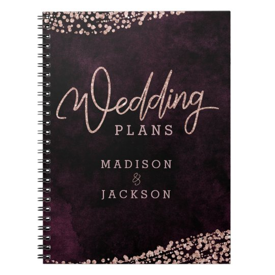 Burgundy Wine Rose Gold Confetti Wedding Planner Notebooks