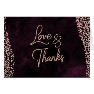 Burgundy Wine & Rose Gold Glam Wedding Thank You Card