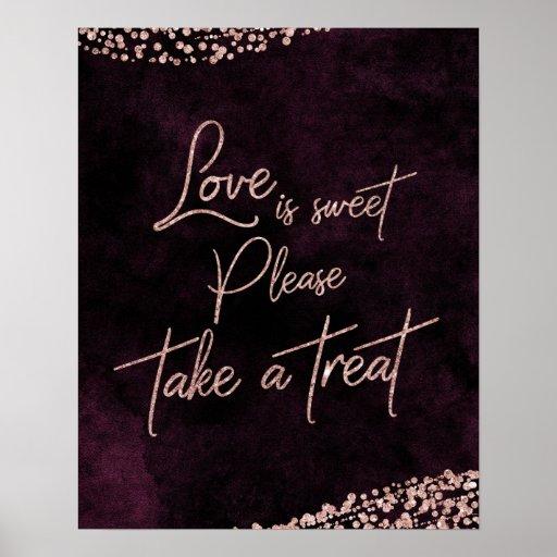 Burgundy Wine & Rose Gold Love is Sweet
