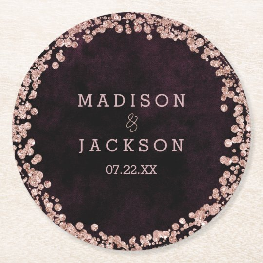 Burgundy Wine & Rose Gold Wedding Monogram Round