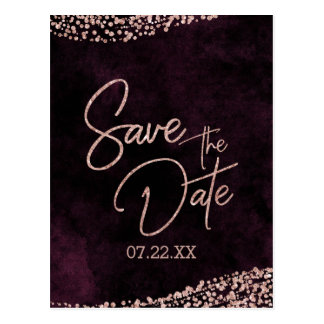 Burgundy Wine & Rose Gold Wedding Save the Date Postcard