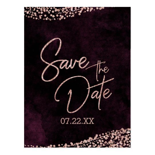 Burgundy Wine & Rose Gold Wedding Save the