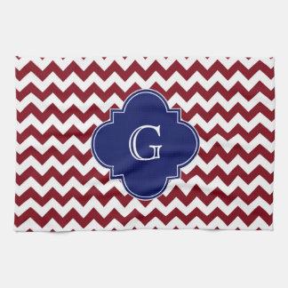 Burgundy Wine, White Chevron Zig-Zag Navy Monogram Tea Towel