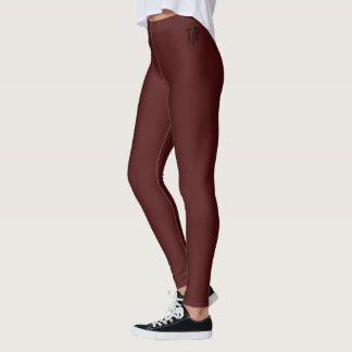 Burgundy Wine With your initials Leggings