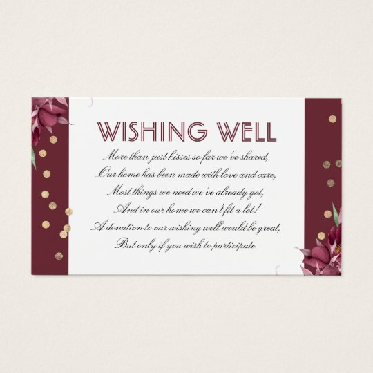 Burgundy Wishing Well Floral and Gold Confetti Business