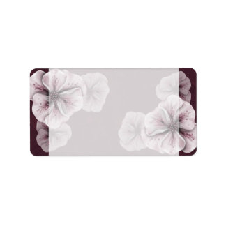 Burgundy with Pink Flowers Address Label