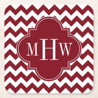 Burgundy Wt Chevron Burgundy Quatrefoil 3 Monogram Square Paper Coaster