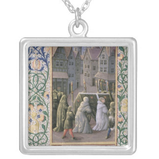 Burial procession silver plated necklace