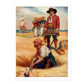 Buried Treasure Vintage Pirate Postcard