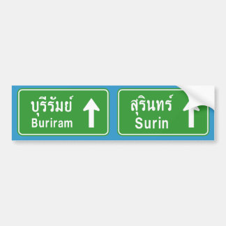 Buriram Surin Ahead ⚠ Thai Highway Traffic Sign ⚠ Bumper Sticker