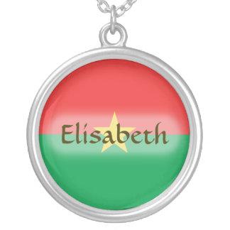 Burkina Faso Flag + Name Necklace