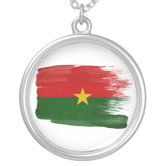 Burkina Faso Flag Silver Plated Necklace
