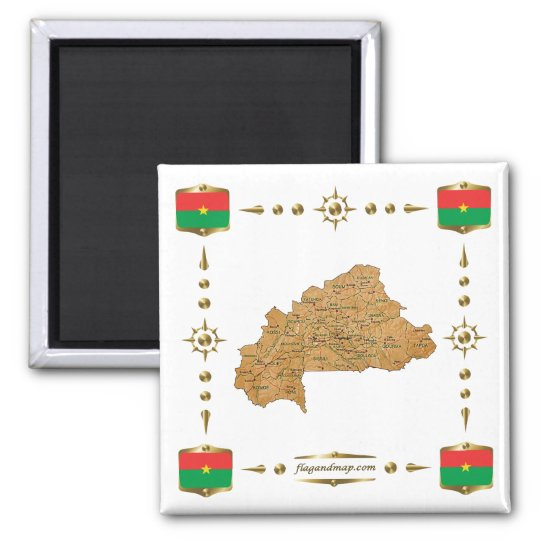 Burkina Faso Map + Flags Magnet