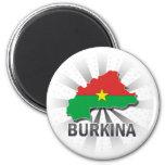 Burkina Flag Map 2.0 6 Cm Round Magnet