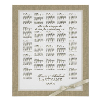 Burlap and Antique White Bow Wedding Seating Chart Poster