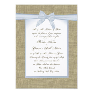 """Burlap and Blue Bow Country Wedding 5.5"""" X 7.5"""" Invitation Card"""