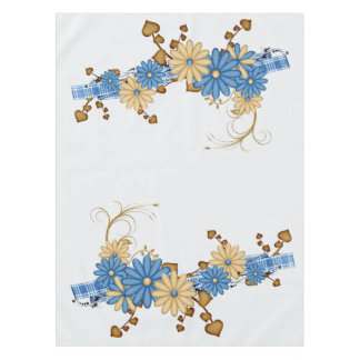 Burlap and Blue Daisies, Country Chic Tablecloth