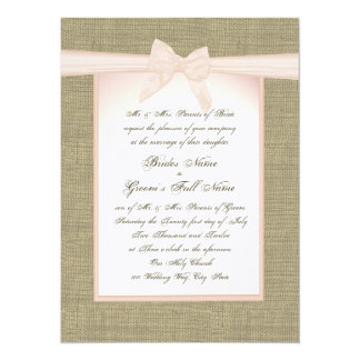 Burlap and Blush Pink Bow Rustic Wedding Card