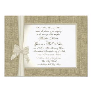 "Burlap and Bow Rustic Wedding 5.5"" X 7.5"" Invitation Card"