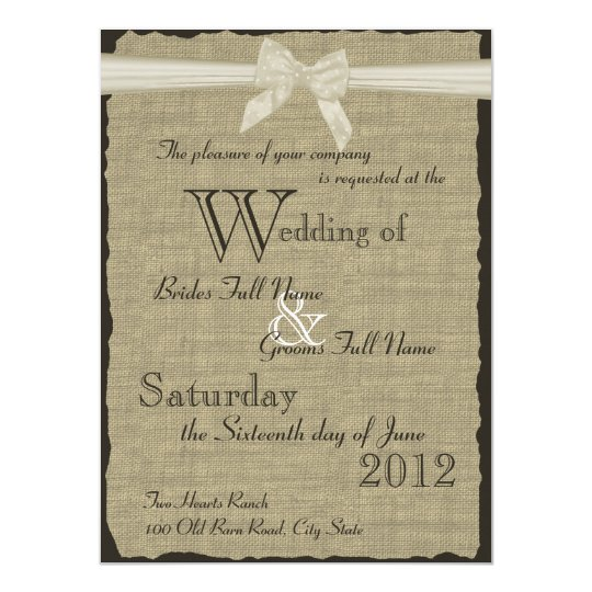 Burlap and Bow Wedding Card