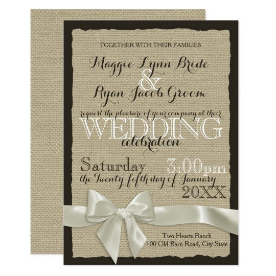 Burlap and Bows Rustic Wedding Card