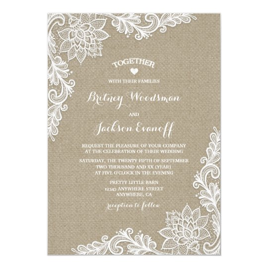 Burlap and Floral Lace Wedding Invitations