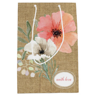 Burlap and Flowers Gift Bag