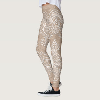 Burlap and Lace All-Over-Print Leggings