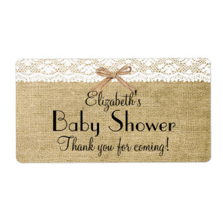 Burlap and Lace Baby Shower-Thank You Shipping Label