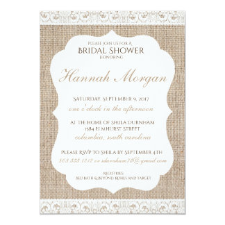 Burlap and Lace Bridal Shower Invitation 5x7
