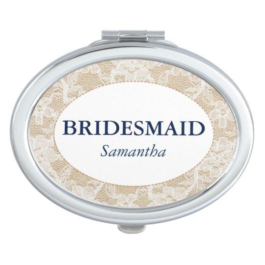 Burlap and Lace Bridesmaid Personalised Vanity Mirror