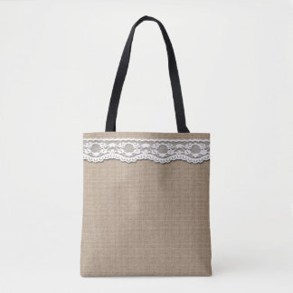 Burlap and Lace Effect Print all over Tote Bag