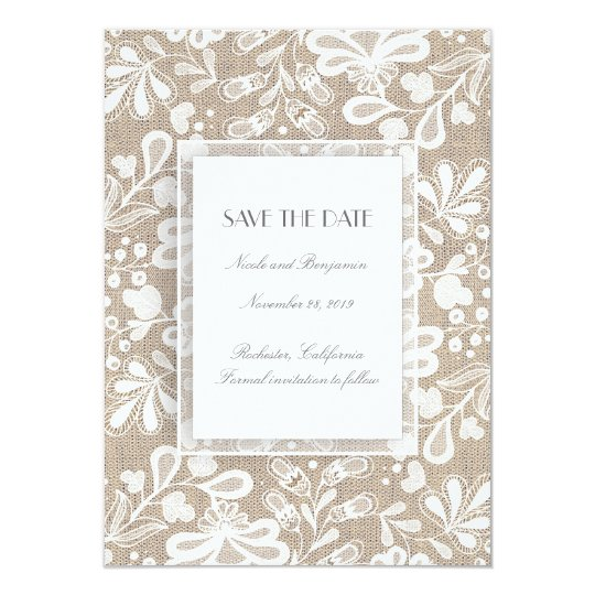 Burlap and Lace Elegant Vintage Save the Date