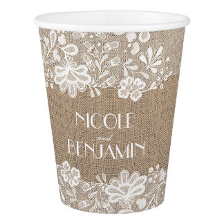 Burlap and Lace Elegant Wedding Paper Cup