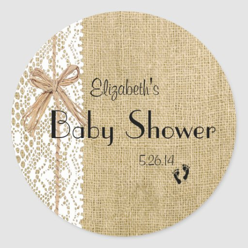 Burlap and Lace Image Baby Shower-Favor Sticker