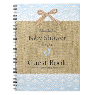 Burlap and Lace Image Blue Baby Shower Guest Book- Notebook